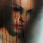 Ferite, 75x55, spray e china su manifesto pubblicitario, 2011