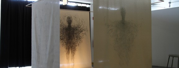Irem-Nalça,-The-Walking-(2015).-Graphite-on-canvas-and-projected-video.
